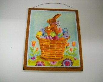 Easter Bunny in a Basket of Eggs Spring Holiday Decor Wooden Wall Art Sign