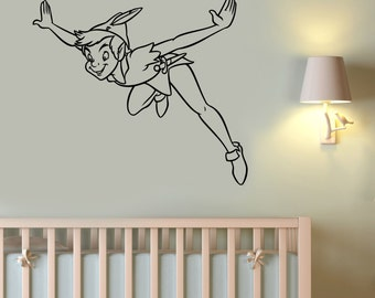Peter Pan Vinyl Decal Wall Sticker Disney Art Neverland Decorations for Home Teen Kids Boys Baby Room Nursery Bedroom Playroom Decor pitp4