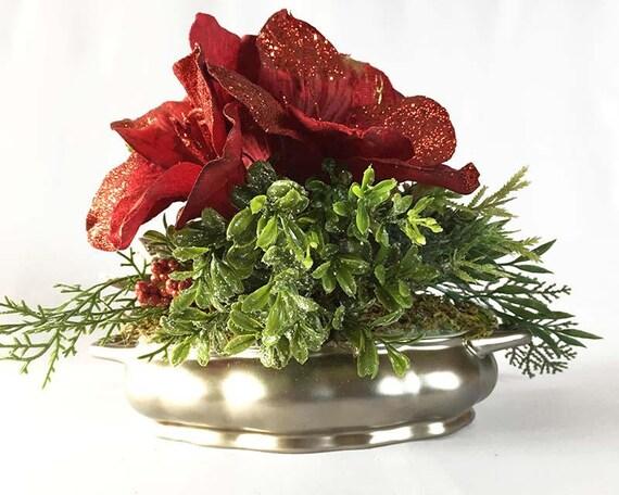 Christmas amaryllis silk flower arrangement christmas mightylinksfo Choice Image