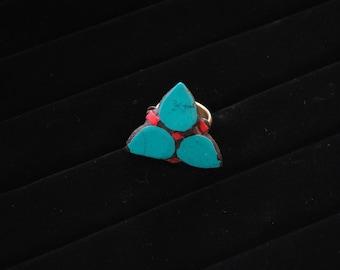 Handmade Tibetan 3 Leaf Statement Ring