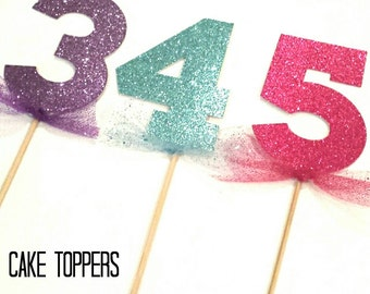 Glittered Numbered Cake Topper!  Shimmer Shine Birtday Party! Age