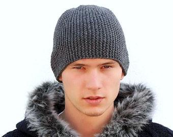 Dark Grey Warm Mens' Knitted Hat, Teens hat, Unisex, Winter hat, Men's Knit Hat, Slouchy beanie, Gray ski cap, man, Gift Ideas for Him