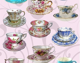 More Pretty Teacups Collage Sheet mptc44 You Will Get a Jpeg Sheet as Well as Individual Png Images