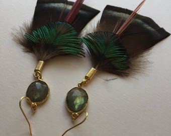 Labradorite feather earrings black