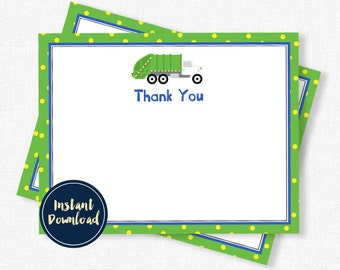 Garbage Truck Thank You Cards, Garbage Truck Notecard, Garbage Truck Birthday, Garbage Man Printable INSTANT DOWNLOAD