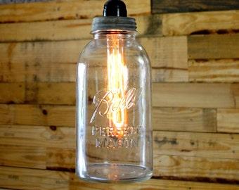 Clear Half Gallon Ball Mason Jar Pendant Light