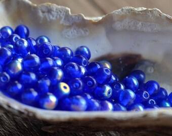 100 pc Czech round 4mm glass beads Cobalt blue AB