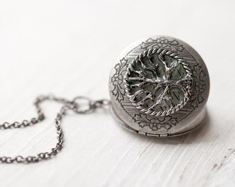 Steampunk locket, Gift for mother, Tree locket necklace, Silver locket, Photo locket, Tree jewelry, Medaillon photo, Tree of life necklace
