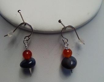 Earrings Carnelian round stone w/Smokie Qtz in Sterling Silver