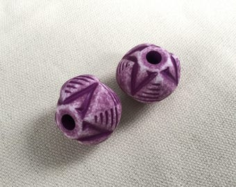 Vintage Lucite Oversized Large-Hole Focal Beads, Purple