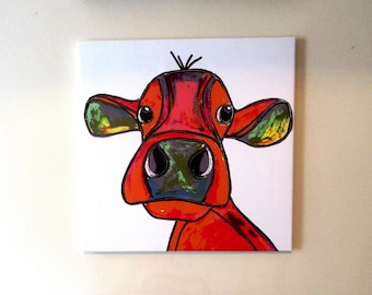 """This is """"Huffy Cow!!!"""".... a large canvas print from an original painting by Suzanne Patterson. 20 x 20""""/ 51 x 51 cm. Ready to hang."""