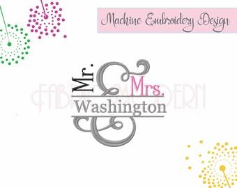 AMPERSAND SPLIT FRAME Mr and Mrs Embroidery Design wedding embroidery anniversary  split monogram  split ampersand couple design  #551