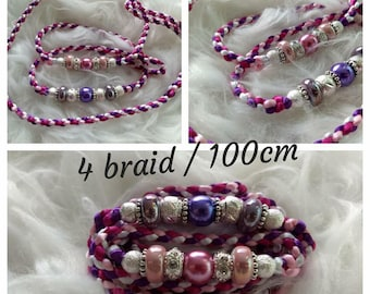Dog Showlead purple/pink with beads