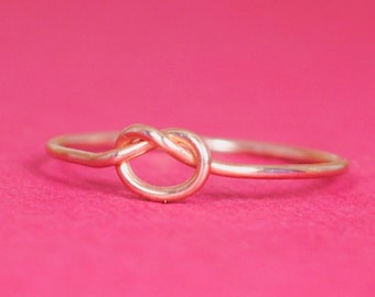 Rose Gold Knot Ring / Rose Gold Friendship Ring/ Thin Rose Gold Ring/Solid Pink Gold Ring/Custom Teeny Weenie Tied Ring*Solid 14k Rose Gold*