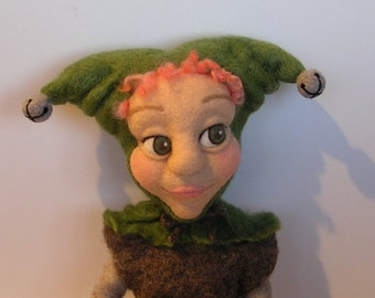 OOAK NEEDLE FELTED Doll / Little Morgan the Jester / Needle Felted Collectible Art Doll by Caryn Burwood of Purple Moose Felting