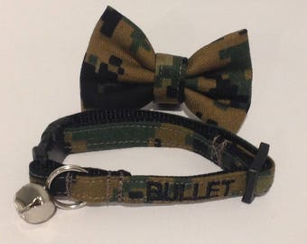 Personalized Cat Collar Bow Tie Set Embroidered With Your Cats Name - Military/Navy/Army/Air Force/Marines  - Availlable In 3 Sizes