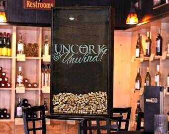 """24x45 Wine Cork Holder / Wall Decor Art - """"Uncork & Unwind"""" / Wine Quotes"""