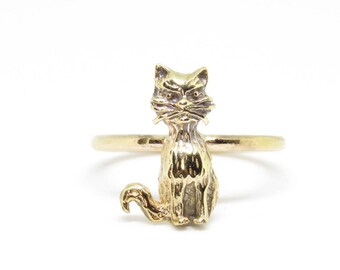 Antique Rare 9ct Gold Cat Ring size J - Very sweet and unusual ring