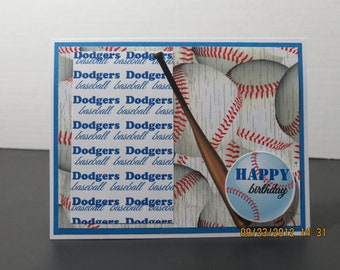 L.A Dodgers Baseball Birthday Card for Him