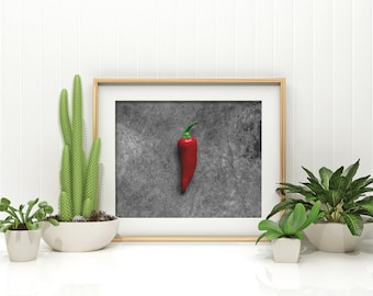fresno chili // food photography print // kitchen decor // kitchen wall art  // dining room wall art // rustic wall art // peppers