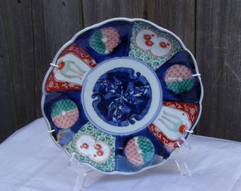 Antique Japanese Imari Porcelain Plate Meiji Period 19th Century Scalloped edges Hand painted Collectibles
