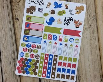 Forest Friends Animal Sticker Kit, Woodland Stickers, Animal Planner Stickers, Forest Stickers, set of 90
