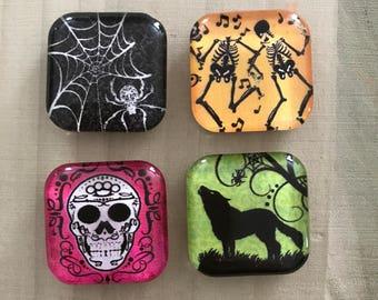 Halloween magnets, Halloween decor, Fridge magnets, Cubicle decor, Office decor, Teacher gift, Locker magnets, Sugar skull magnets, Skeleton