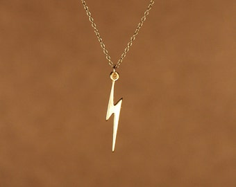 Lightning bolt necklace - gold lightning bolt - thunder - storm - a 22k gold overlay lightning bolt on a 14k gold vermeil chain