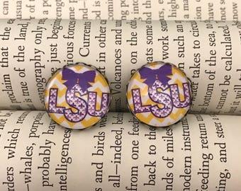 LSU Louisana State Vintage Inspired Earring Studs