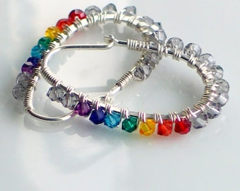 Yoga Chakra Crystal Wrapped Sterling Earring Hoops, Yoga Jewelry, Rainbow Colors, Full Spectrum, Conscious Fashion
