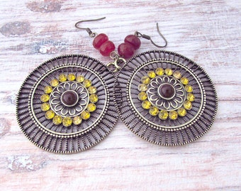 Mandala Earrings - Womens Large Earrings - Boho Moroccan Earrings - Ethnic Disc Earrings - Large Gypsy Earrings - Boho Filigree Earrings