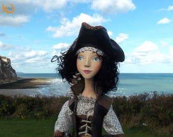 SALE! Charlotte, pirate girl, art doll, ooak, clay doll, interior art doll, ooak art doll, figurine pirate, collectible art doll, brunette