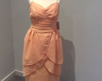 VIntage 1990's Frank Usher London peach knee length dress