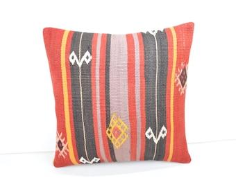 kilim pillow,16x16,throw cushion,striped pillow cover, striped pillow case, stripe throw pillow,stripe decorative pillow ,kilim pillow 11