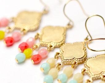 Little Boho Beaded Golden Chandelier Earrings- Choose one