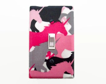 Unicorn Light Switch Cover - Pink Grey Switch Plate Cover - Girls Unicorn Decor