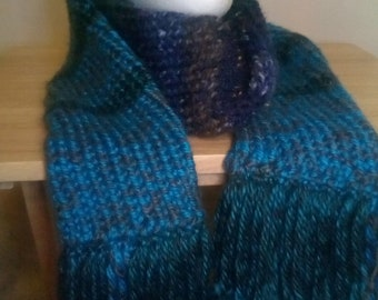 Knit warm winter scarf, blues and greens
