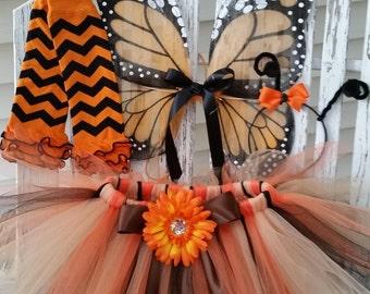 Monarch Butterfly Costume - Girl Butterfly Tutu - Baby Girl Halloween Costume - Wings, Leg warmers, Tutu and Antenna Headband