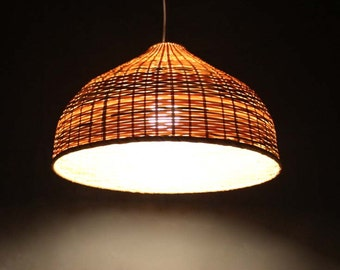 Creative bamboo and parchment pendant lamp 110 240v one e27 bamboo lighting hand woven bamboo pendant lights bamboo crafts lighting fixtures hanging lamp decor bamboo lampshade mozeypictures Images