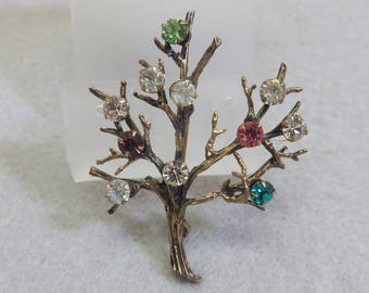Gold Over Sterling Silver Rhinestone Tree Pin