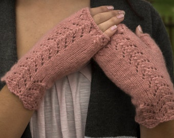 Lace Fingerless Gloves Texting Mittens, 100% Cashmere, Dusty Rose Color