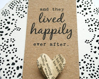 5 Happily Ever After - Story Book, Fairytale Hand Crafted Wedding Favour Tags With Heart Detailing