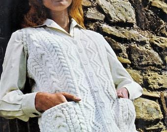 LADIES Aran waistcoat Sizes: 34 to 42ins   Vintage Knitting Pattern