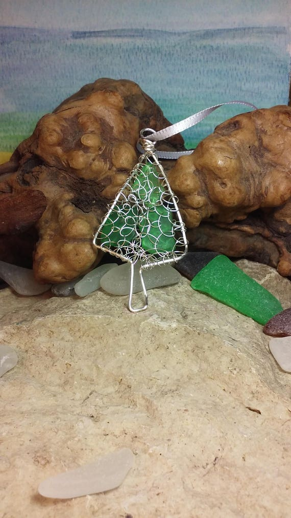 Christmas tree Ornament with Lake Michigan Beach Glass - Wire Wrapped Sea Glass Holiday Ornament Secret Santa Gift by Goofy Moose