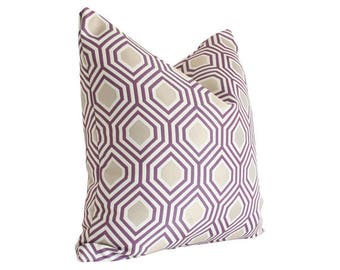 Hexagon Purple and Gold Geometric Designer Pillow Cover - Custom Made-to-Order