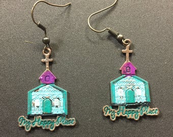 Southern Junkie Earrings, Church My Happy Place
