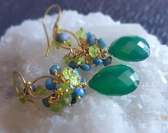 Green Onyx Chandelier Earrings with Blue Quartz Peridot on Gold Fill Gift for Her