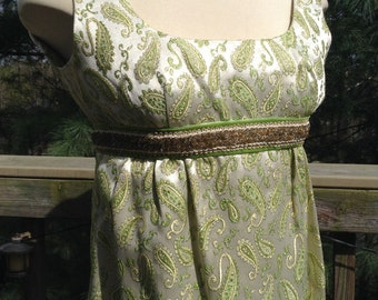 Vintage Green Paisley Brocade Maxi Gown