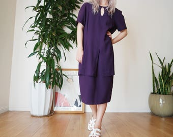 Violet Midi Shift Dress / keyhole neckline purple dress / vintage double tier dress / vintage midi dress