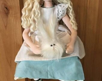 OOAK Alice in Wonderland cloth art doll, handmade, handpainted.